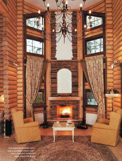 Интерьеры бревенчатых домов