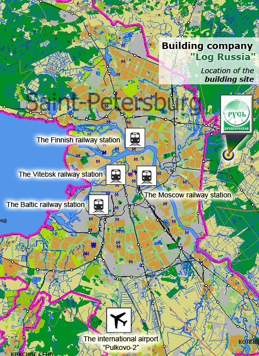 The scheme of an arrangement of office and platform of the company concerning the airport and stations of St.-Petersburg
