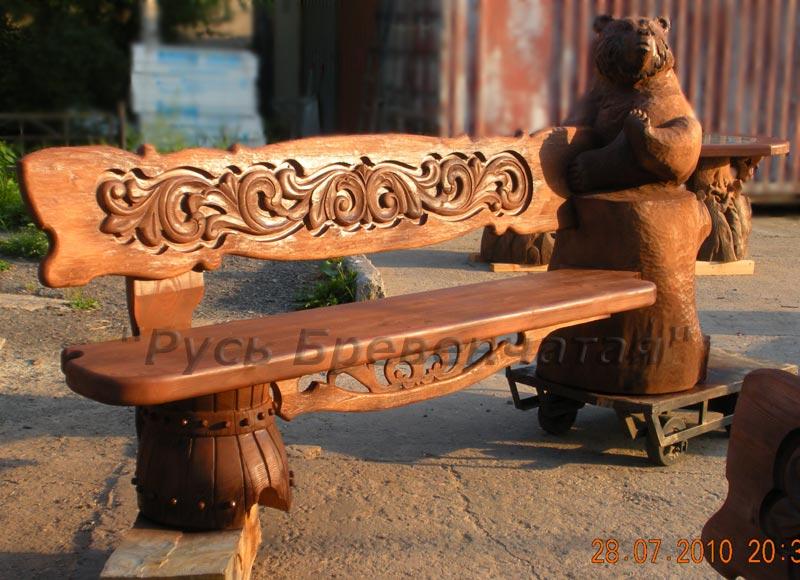 Резная скамейка из дерева своими руками 13