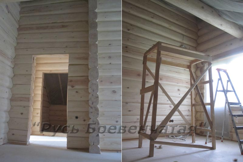 Дом из бревен, стены после шлифовки