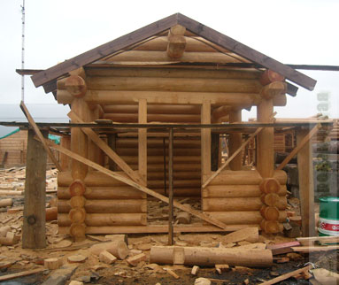 Pavilion made of larch