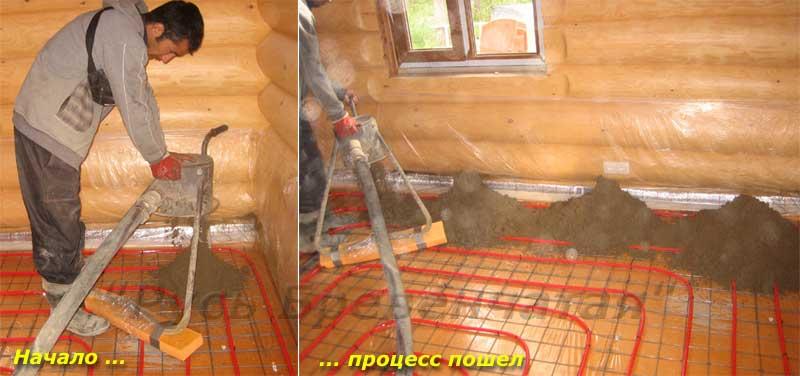 Цементный пол в частном доме своими руками