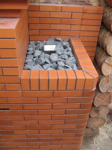 Кирпичная русская печь-каменка для рубленой бани