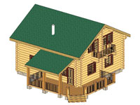 The detailed project of a wooden house 122 sq. m