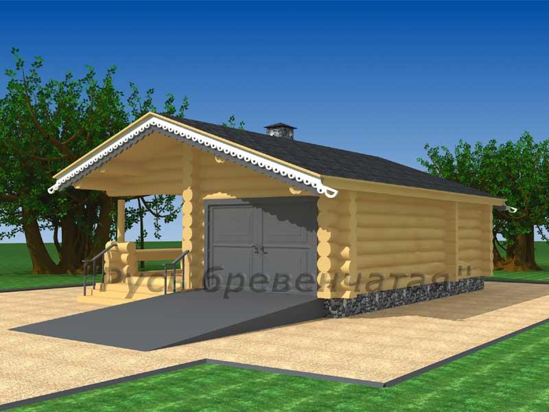 Проекты бревенчетых домов с гаражом на 2 машины
