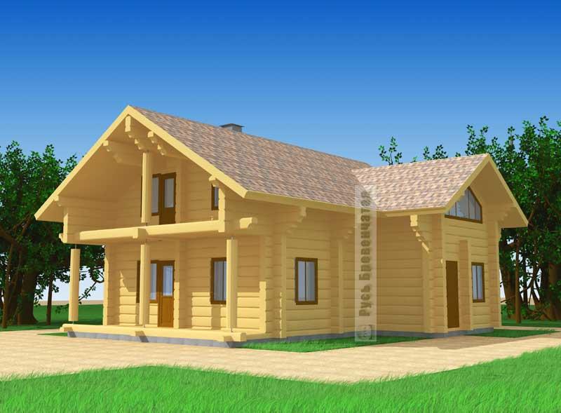 Проект углового деревянного дома