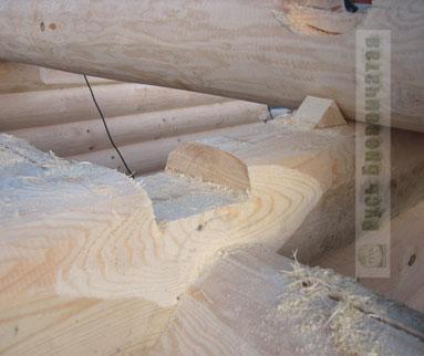 Пропил делается в верхней части всех бревен в невидимой зоне, на глубину одной трети диаметра бревна